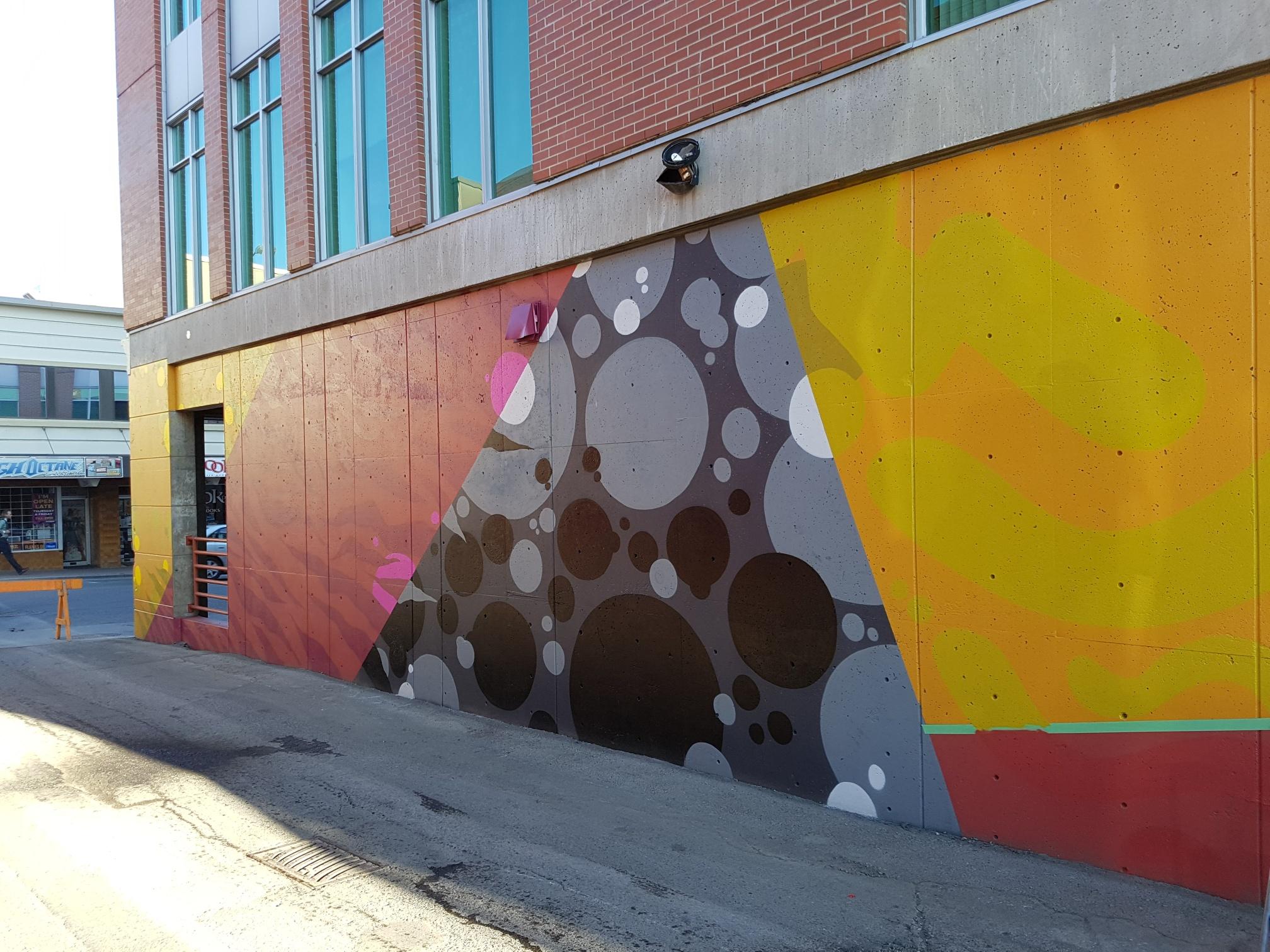 Kelson Place Leland Hotel Mural base coat