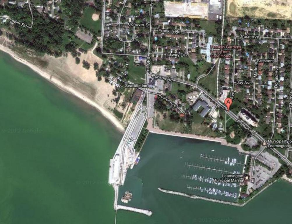 Aerial View of Leamington Marina, The Ferry Dock (to Pelee Island), Seacrest Beach and Lakeview Towers