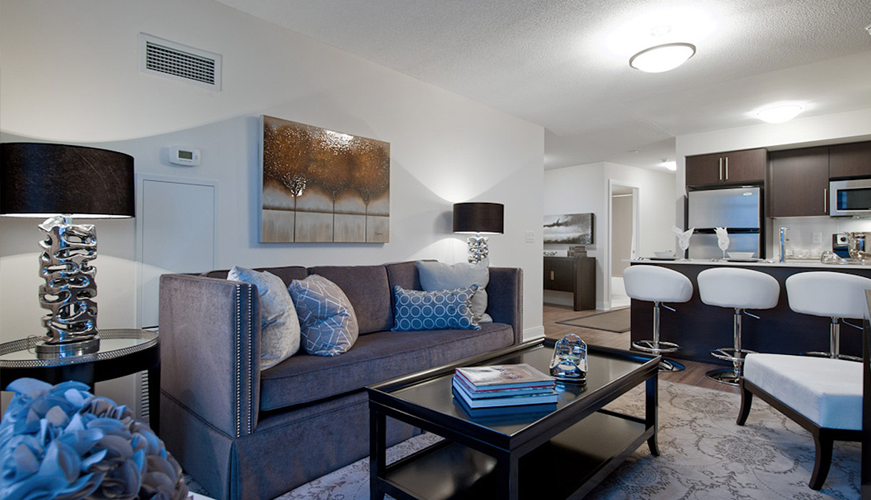 KG Harrison Luxury Model Suite Living Room and Kitchen
