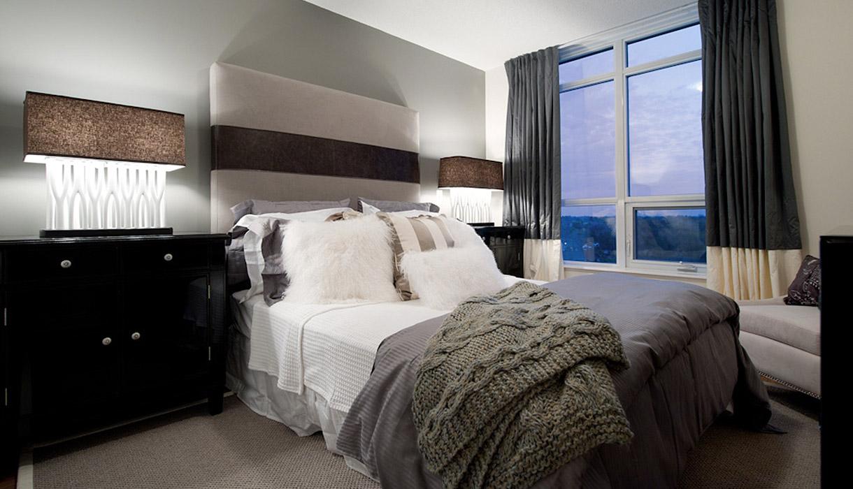 KG Harrison Luxury 2 Bedroom Model Suite Master Bedroom