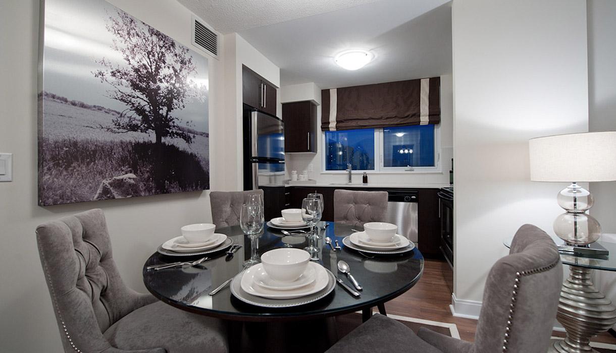 KG Harrison Luxury 2 Bedroom Model Suite Dining Room