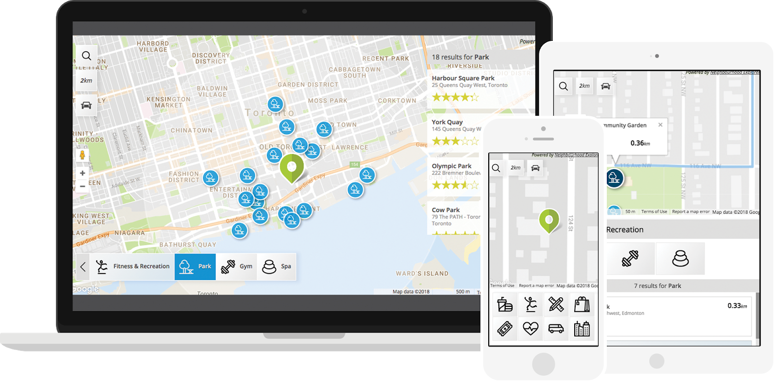 screenshot of neighbourhood explorer map on different devices