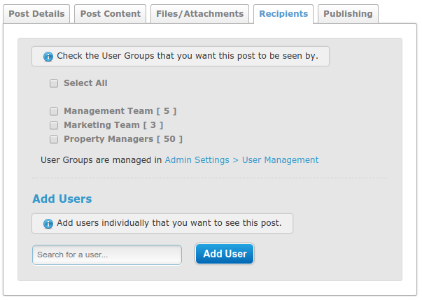 Screenshot of user interface for managing post recipients