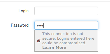 Image of Not Secure Warning in Firefox