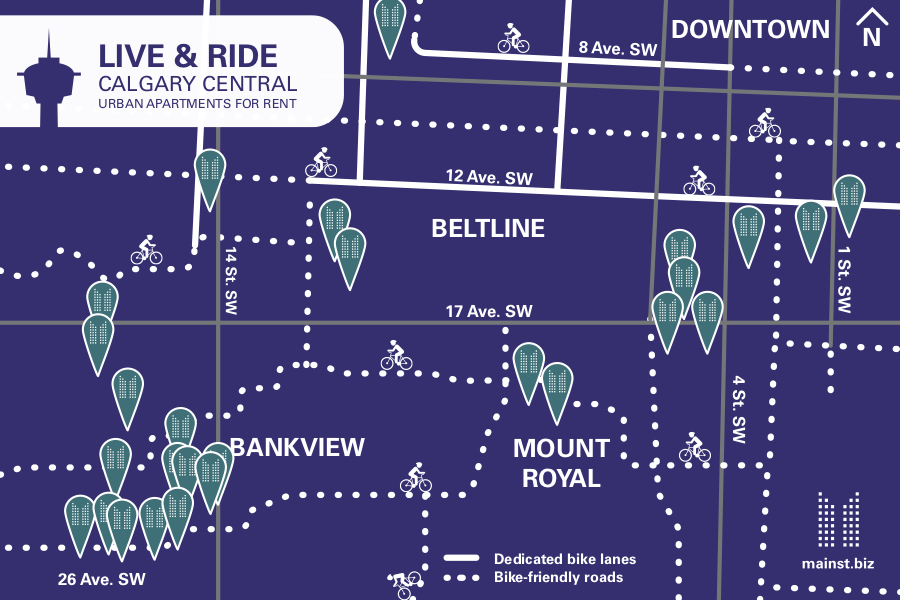 MEQ Bike Map, Mainstreet Equity Apartments and Bike Lanes in Calgary