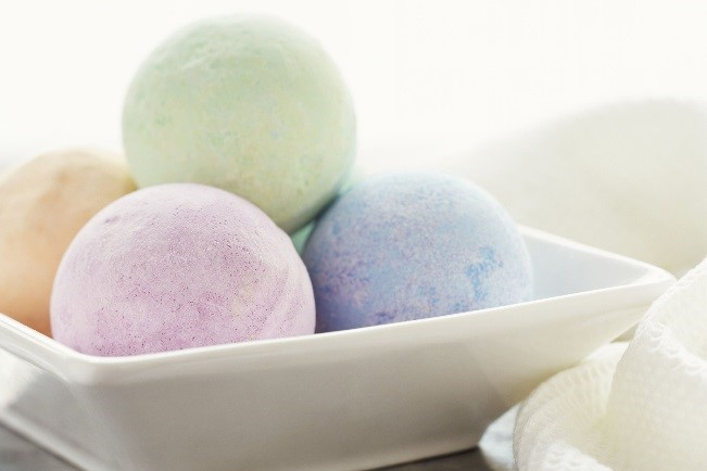 Image result for bathroom bowl filled with bath bombs