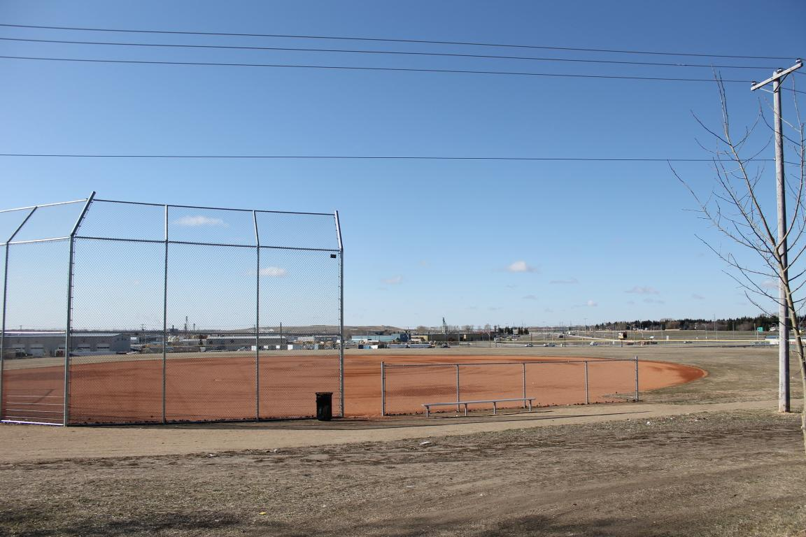 At the edge of town backing onto huge fields and baseball diamonds