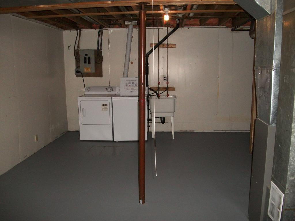 Full basement with laundry