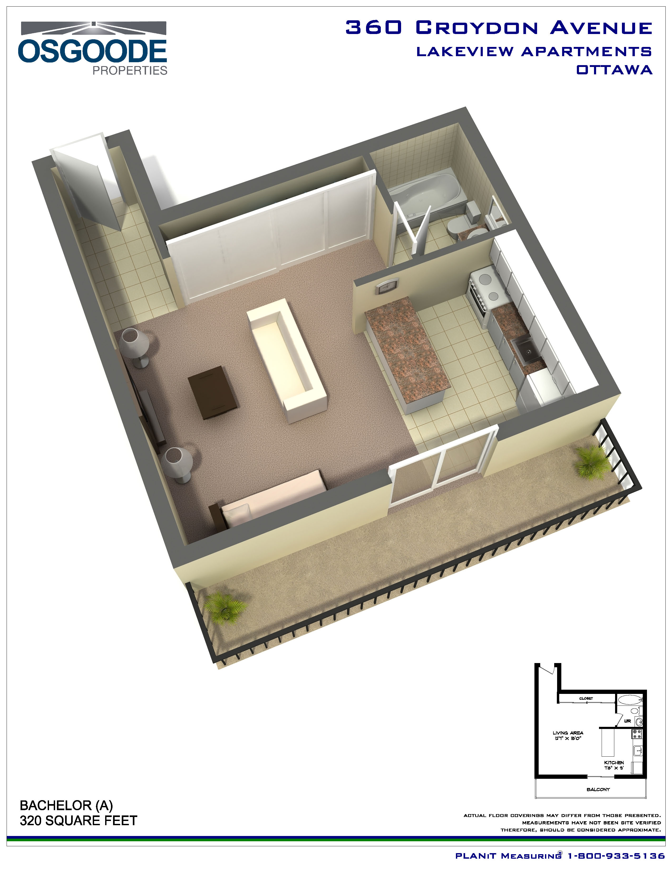 Rent at lakeview apartments in ottawa ontario for Bachelor flat plans