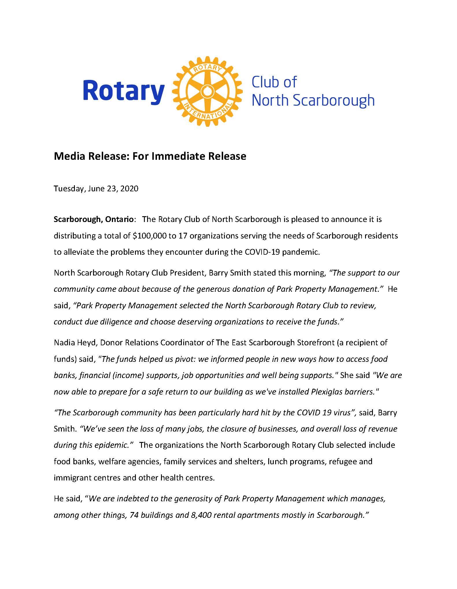 Rotary Club of North Scarborough - Rotary Club of North Scarborough