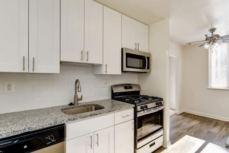 Apartments with renovated kitchens at Hallfield Apartments in Perry Hall, MD