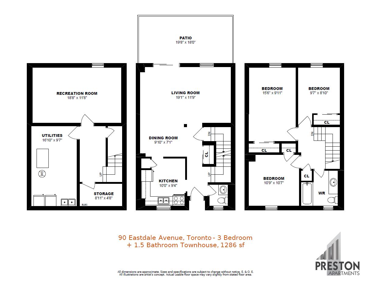 90 eastdale avenue toronto apartments preston group for 5 bedroom townhouse floor plans