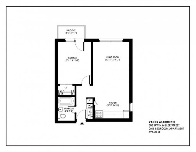 388 Irwin Miller Floorplan 1 Bedroom