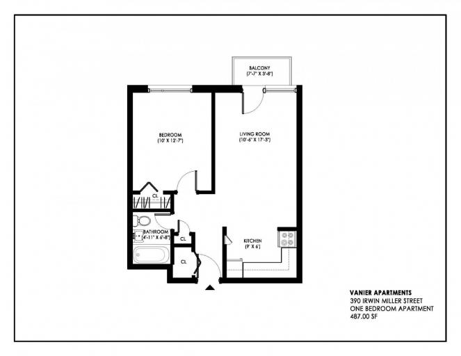 390 Irwin Miller Floorplan 1 Bedroom