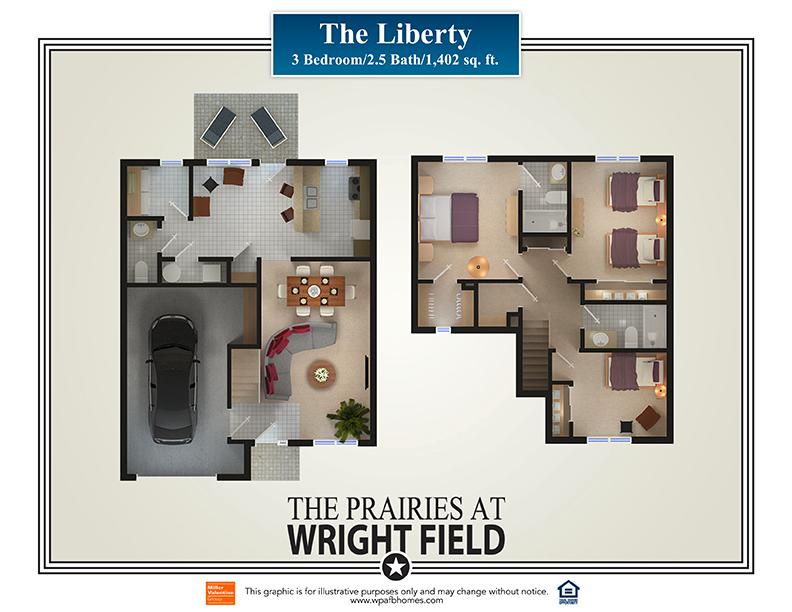 The Prairies at 5924 Hickam Drive Dayton OH – Wright Patterson Afb Housing Floor Plans