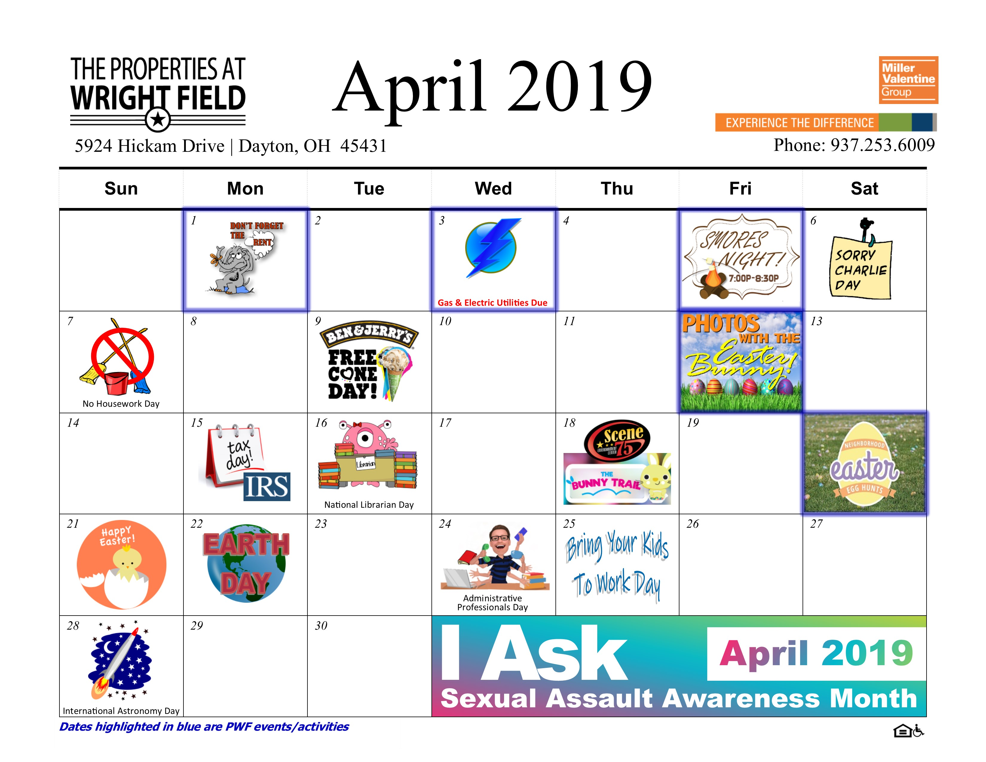April 2019 Calendar The Properties At Wright Field