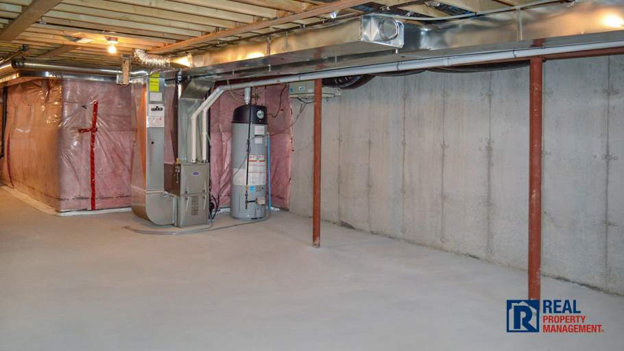unfinished basement with great storage space