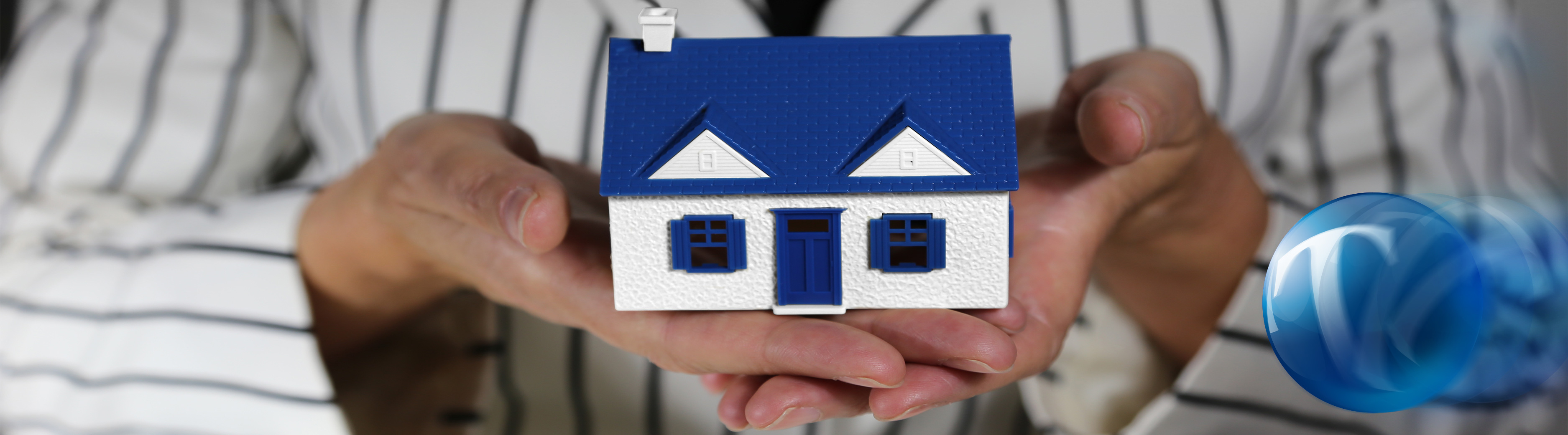 Image of person holding a house with blue roof