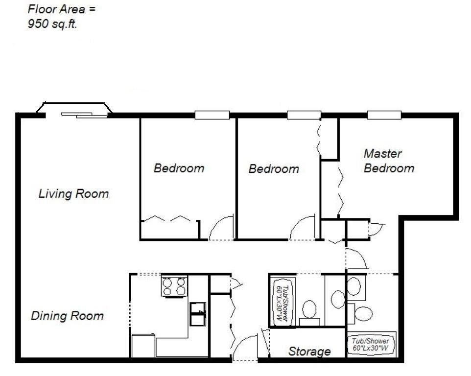Sudbury 3 chambre à coucher Appartement