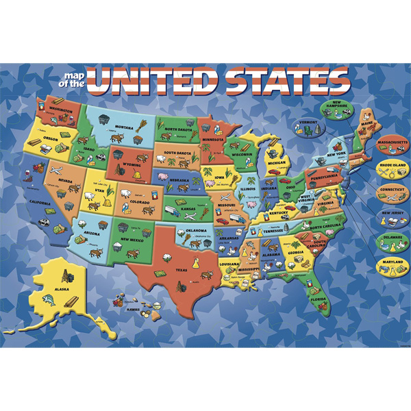 Details about CARDINAL INDUSTRIES - USA Map Puzzle - 84 Pieces
