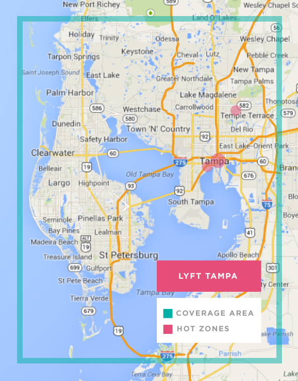 Lyft in Tampa Florida Heres a promo code and coverage map