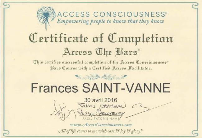 1er certifIcat d'Access Bars relaxation Access bars craniens Somatotherapeute Access bars consciousness le mans