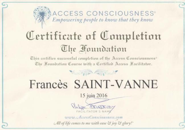 Fondation d'Access Bars Formation certifiante Access Bars Consiousness toute la France Processus Bars d'Access Consciousness ®