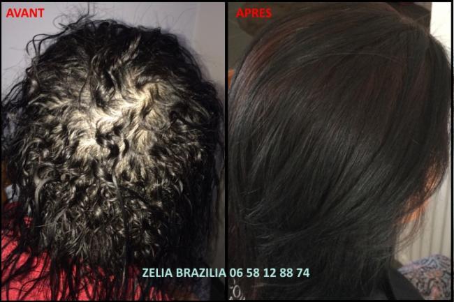 Lissage brésilien Avant / Après Lissage Bresilien Lissage Brésilien Zelia Brazilia produit cosmétique cheveux