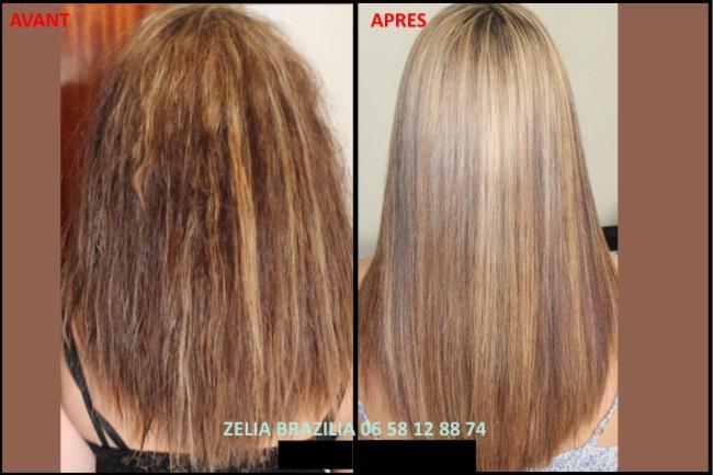 Lissage brésilien Avant / Après Chaumont En Vexin produit cosmétique cheveux lissage