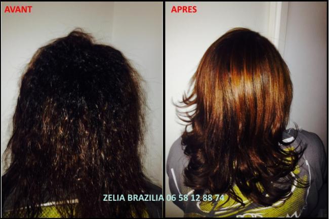 Lissage brésilien Avant / Après produit cosmétique cheveux lissage Brésil