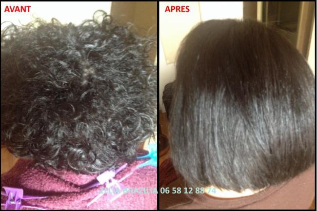Lissage brésilien Avant / Après coiffure coiffeur coiffeuse coupe shampoing