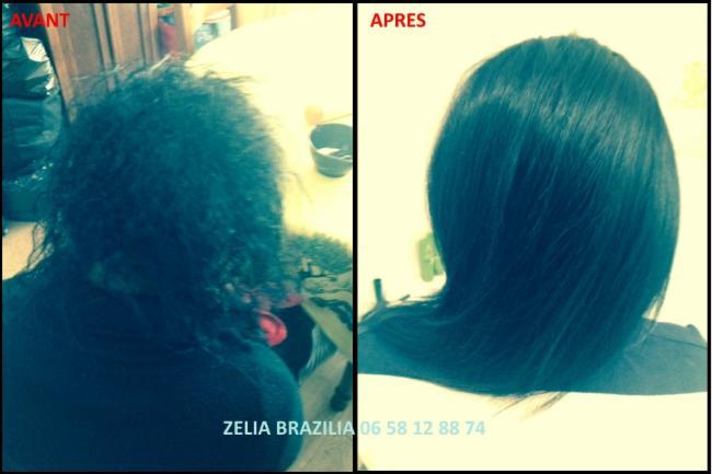 Lissage brésilien Avant / Après coiffeur coiffeuse coupe shampoing après-shampoing
