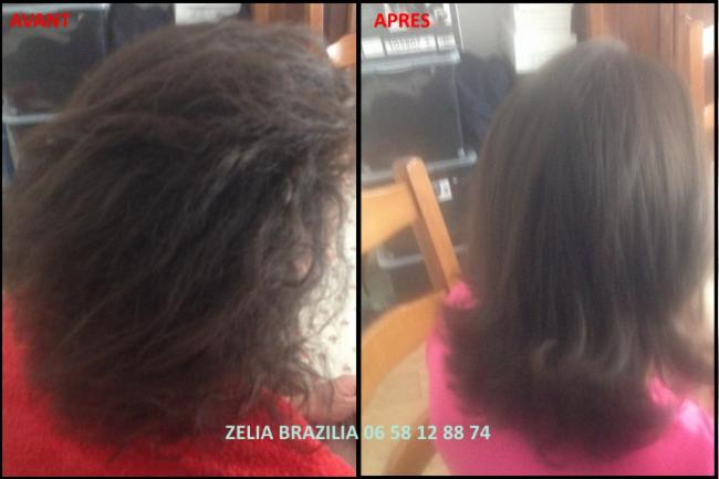 Lissage brésilien Avant / Après coiffeuse coupe shampoing après-shampoing masque