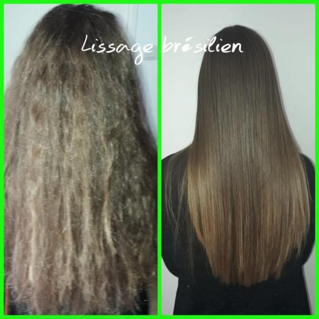 antes et depois Lissage Bresilien LISSAGE ZELIA BRAZILIA produit cosmétique cheveux