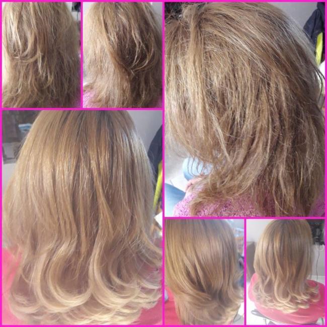 avant et aprés coiffeur coiffeuse coupe shampoing après-shampoing