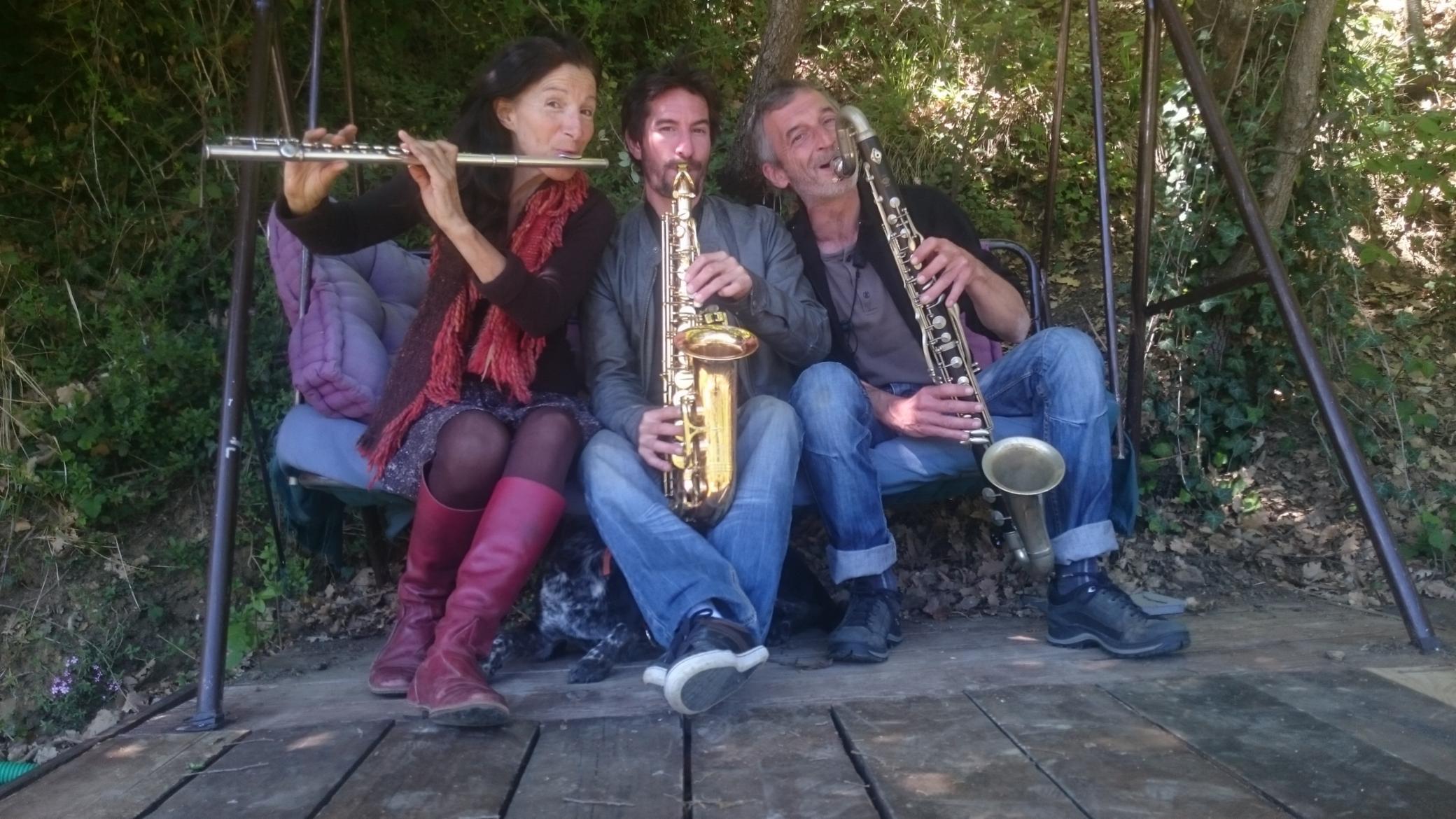Temps - danse aux vents : trio flûte traversière, sax alto et clarinette basse.