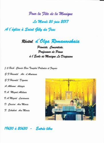 Fête de la musique à l'église St.Gély du Fesc MUSIQUE CLASSIQUE Concert de la musique classique