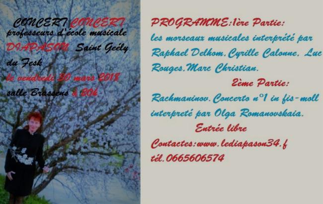 """Concert des professeurs d'école musicale """"Le Diapason"""" Saint Gély du Fesk le 30 mars 2018"""