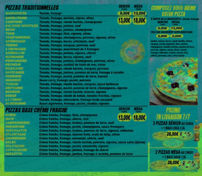 notre carte pizza livraison Burger Cuisine Italienne tacos Pizzeria