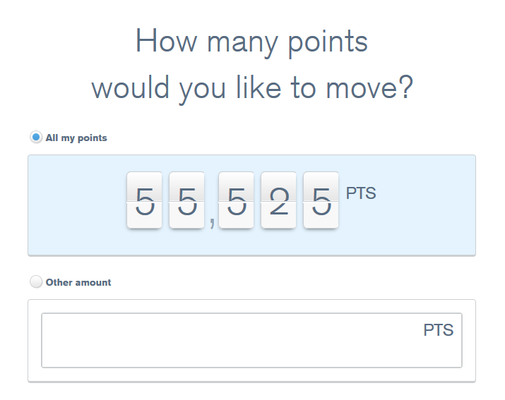chase ultimate rewards website asking how many points user would like to move