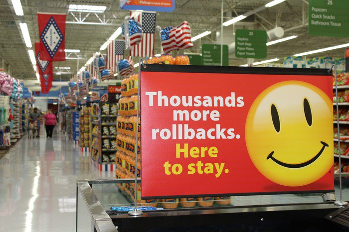 Walmart store with smiley face sign