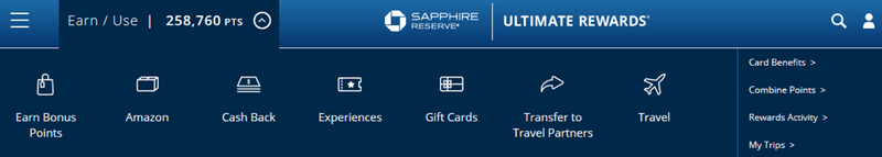 Chase website with points redemption options