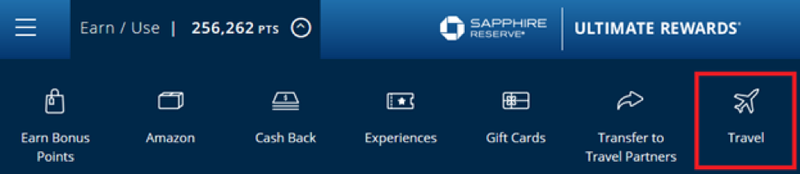 """Chase website with """"Travel"""" link highlighted"""