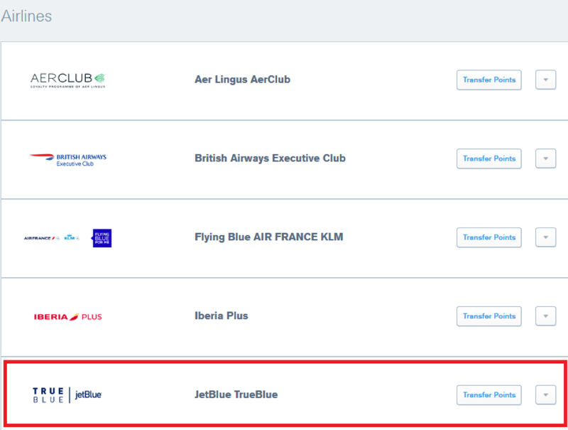 selecting JetBlue TrueBlue to transfer points