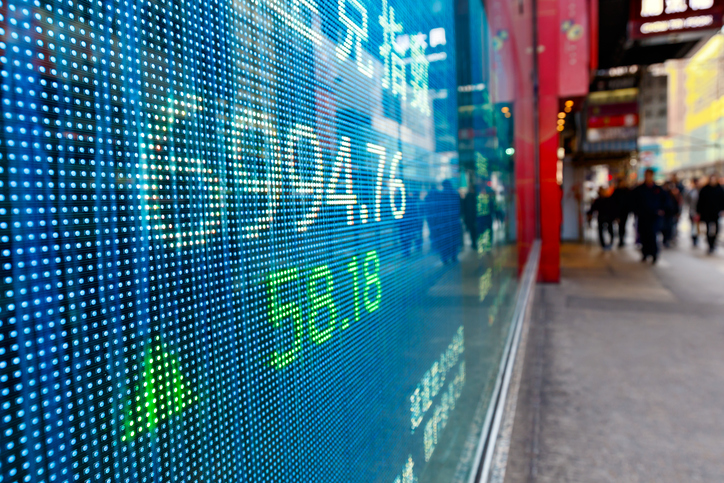 Stock prices moving on a screen