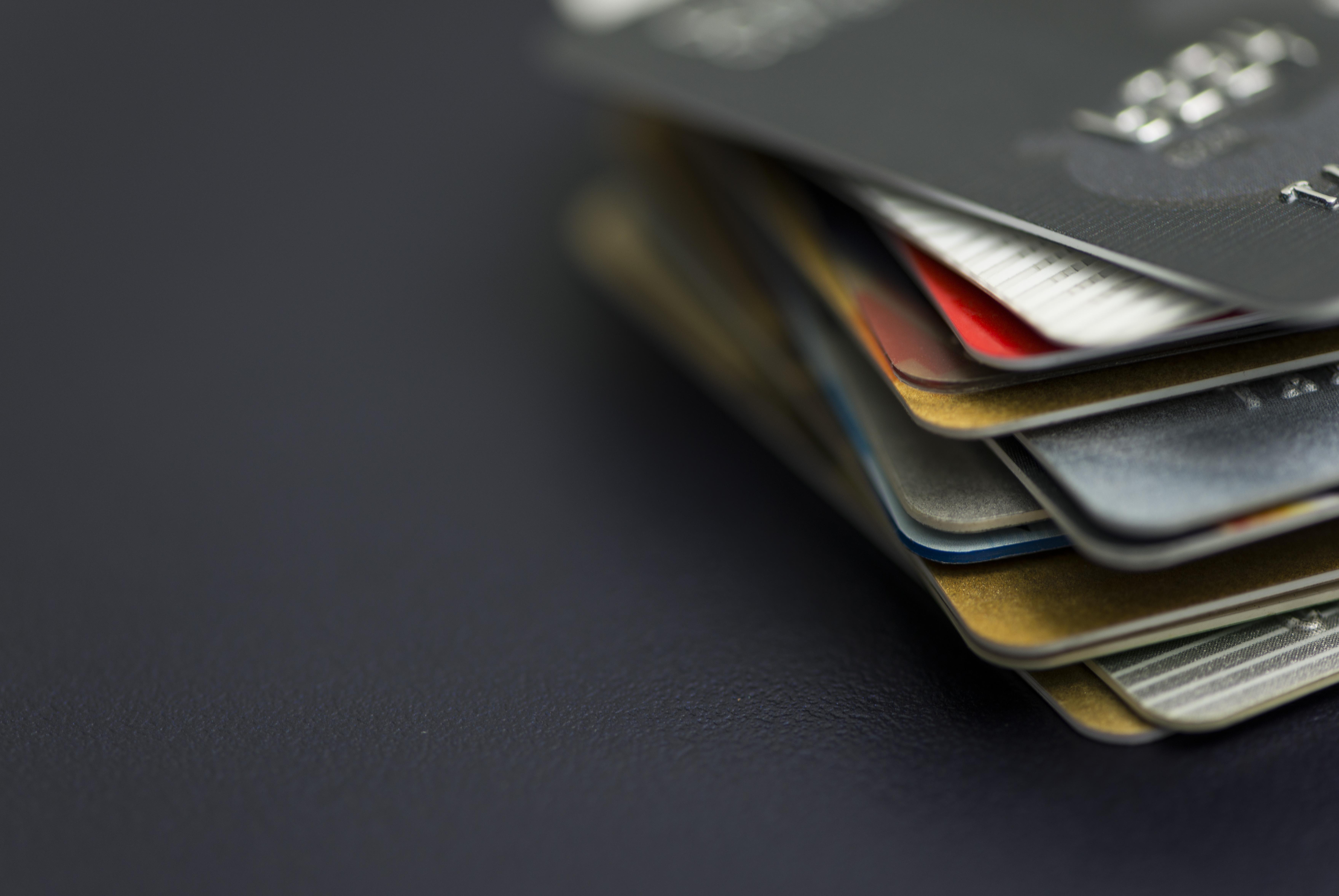 Credit cards on a desk