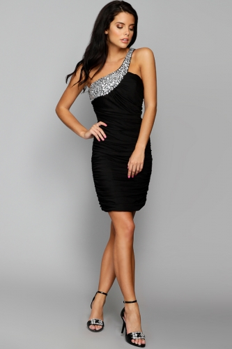Jewel Embellished One Shoulder Dress