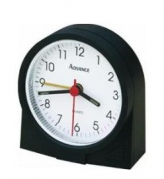 Advance Quartz Analog Round Bedside Alarm Clock - Black