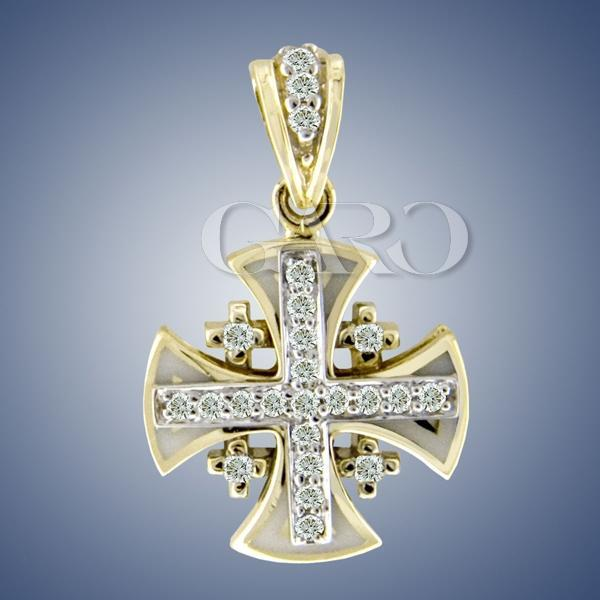 Diamond jerusalem cross pendant aloadofball Images