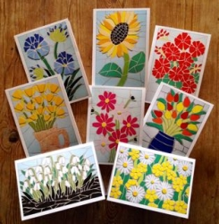 RoW P&P incl - A set of 8 cards of flower mosaics